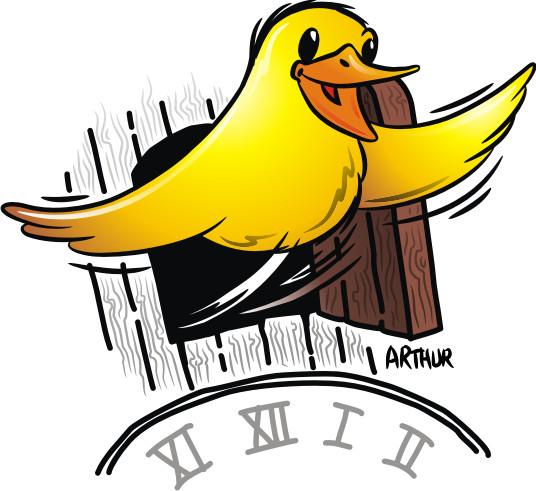 Voor een naambordje moest ik een vrolijk vogeltje tekenen